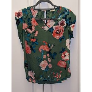 Green Flower Blouse with Criss Crossed Design